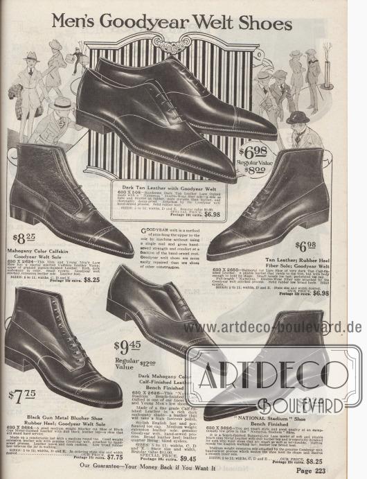 """""""Rahmengenähte Herrenschuhe"""" (engl. """"Men's Goodyear Welt Shoes""""). Elegante Halbschuhe und Kurzstiefeletten mit mittelhohem Schaft zum Schnüren aus diversen braunen oder mahagonibraunen Kalbsledern zur Komplettierung des eleganten Herrenanzugs für Straße und Geschäft. Bei zwei halbhohen Stiefeletten sind die Schäfte entweder aus grobem Schweinsleder oder mattem Rindsleder hergestellt, um einen zweifarbigen Effekt zu erzielen. Herrenschuhe mit geraden, spitzen Querkappen und Lyralochung (dekorativer Lochnaht). Ein Modell mit Derbybogen und offener Schnürung, alle anderen Schuhe mit geschlossener Oxford-Schnürung (engl. """"Balmoral cut Lace Shoe"""")."""