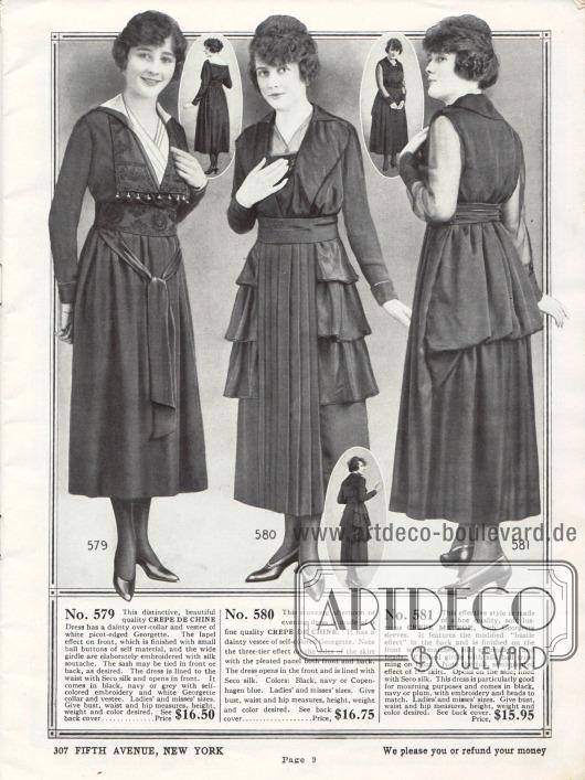 Exklusive und elegante Kleider aus Crêpe de Chine sowie Crêpe Meteor (weiches Seidenkrepp, Satin ähnliches Aussehen). Das erste Kleid zeigt Stickereien in unauffälliger Färbung, eine Schärpe, die in der Front verknotet ist und einen Westeneinsatz aus Georgette. Das mittlere Kleid präsentiert einen Plisseeeinsatz vorne und hinten. Seitlich zeigen sich dreistufige Volants. Das dritte Kleid besitzt über dem Gesäß eine drapierte Stofflage, die tournürenartig die Partie betont.