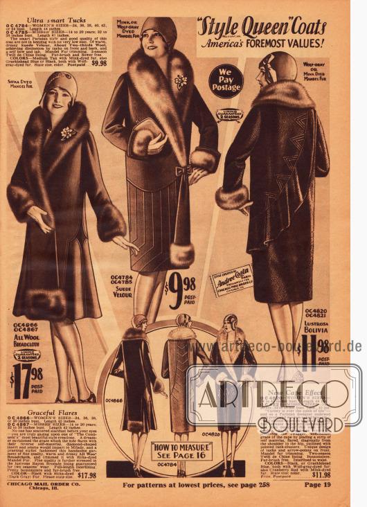 """Damenmäntel der Marke """"Style Queen"""" aus Woll-Breitgewebe, Woll-Veloursleder und """"Lustrosa Botavia"""". Die voluminösen Schalpelzkragen sind aus """"mandel fur"""" (chinesischem Schaf). Der erste Mantel zeigt einen glockigen Schnitt. Eine Ansteckblume wird bei jedem Mantel kostenfrei mitgeliefert."""