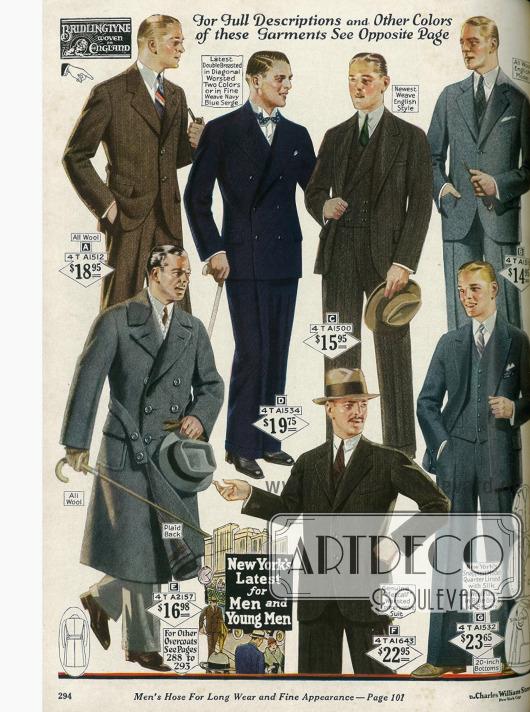 Doppelreihige und einreihige Sakkoanzüge aus Wolle, Woll-Flanell und Serge. Ein Mantel mit aufgenähten Taschen und Taillengürtel unten links.