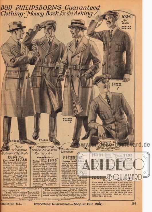 Drei doppelreihige Herrenmäntel (Trenchcoats), die auch gegen Regen schützen oder für den Automobilisten gedacht sind, aus Gabardine, Englischleder und imprägniertem Kaschmir. Rechts daneben zwei Strickpullover aus reiner Wolle und gekämmter Baumwolle mit jeweils vier praktischen Taschen.