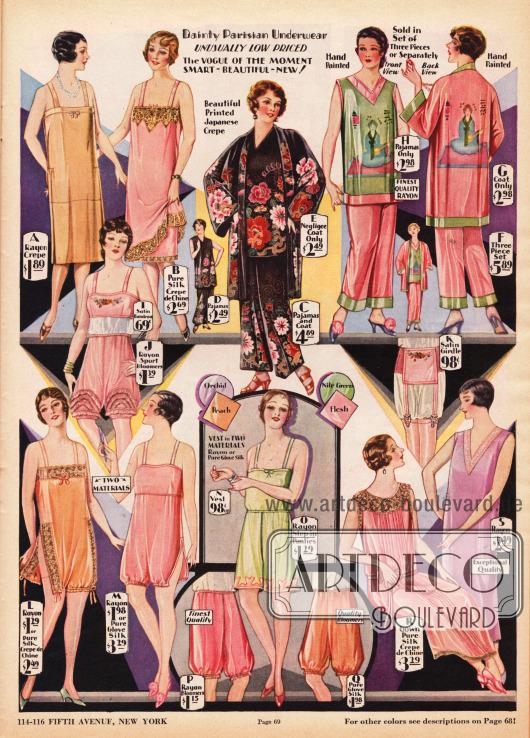 """Damenunterwäsche und Pyjamas aus Rayon, Rayon Krepp, Seiden Crêpe de Chine und teilweise mit Spitze. Die eleganten Pyjamas oben rechts sind aus leuchtend farbig bedrucktem, glänzendem Seiden Krepp und Rayon Jersey mit japanischen Motiven. Sie bestehen aus drei Teilen, die alle separat bestellt werden können (D-H). Bei der Unterwäsche sind Unterröcke (A, B), ein Bustier (I), Pumphöschen (J, O, P, Q), ein Hüfthalter (K), einteilige Hemd-Höschen Kombinationen (L, M), ein Hemdchen (N) sowie zwei Nachthemden (R, S) zu finden. Die gängigen Farben für die hier gezeigte Unterwäsche sind """"Orchid"""", """"Peach"""", """"Nile Green"""" und """"Flesh""""."""