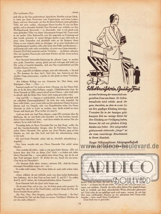 Artikel: Erich, H., Der verlorene Hut. Werbung: Singer Nähmaschinen Aktiengesellschaft.