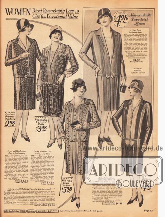 """Fünf Tageskleider für vollschlanke Damen aus merzerisiertem Baumwoll-Foulard, geblümtem Baumwoll-Schleierstoff, kühlem irischen Leinen, Seiden Krepp """"Venise"""" und Rayon Krepp. Westeneinsätze und lange Frontpanele sind an fast allen Modellen zu finden."""