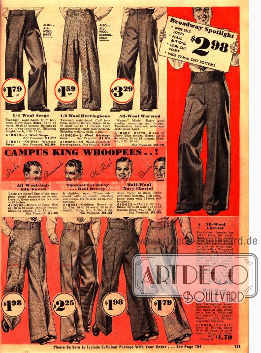 """""""Freudenfest des Campus"""". Anzughosen für junge Männer mit bis zu 22-inch weiten Hosenbeinen, die hoch in der Taille mit extra breitem Hosengürtel getragen werden."""