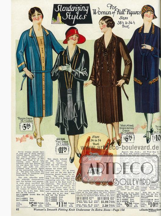 """""""Verschlankende Kleider für Damen mit voller Figur"""" Die Kleider sind aus Rayon und Seiden Krepp sowie aus Wollmischstoffen. Ein hennafarbenes Unterhemd mit Plisseeansatz aus Rayon wird unten präsentiert."""