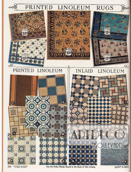 """Bodenbeläge aus Linoleum. Oben sind Linoleum Fußbodenbeläge zu sehen, die wie Teppiche gestaltet sind. Die Beschreibungen sind auf der gegenüberliegenden Seite. Darunter sind Linoleumbeläge mit aufgedruckten Fliesen und Kacheln (""""Printed Linoleum""""), die den Eindruck von Mosaiken und Kachelböden erwecken (""""Inlaid Linoleum"""")."""