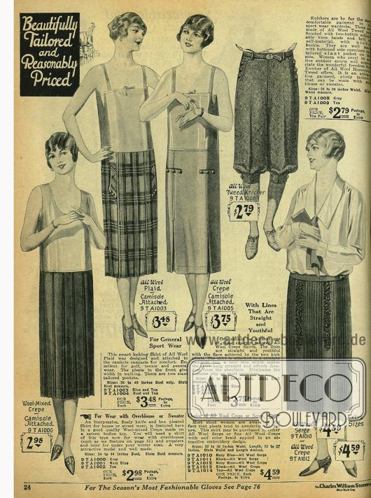Günstige Röcke aus Wollstoffen mit passenden Unterhemden sowie eine Knickerbockerhose für Frauen aus Tweed.