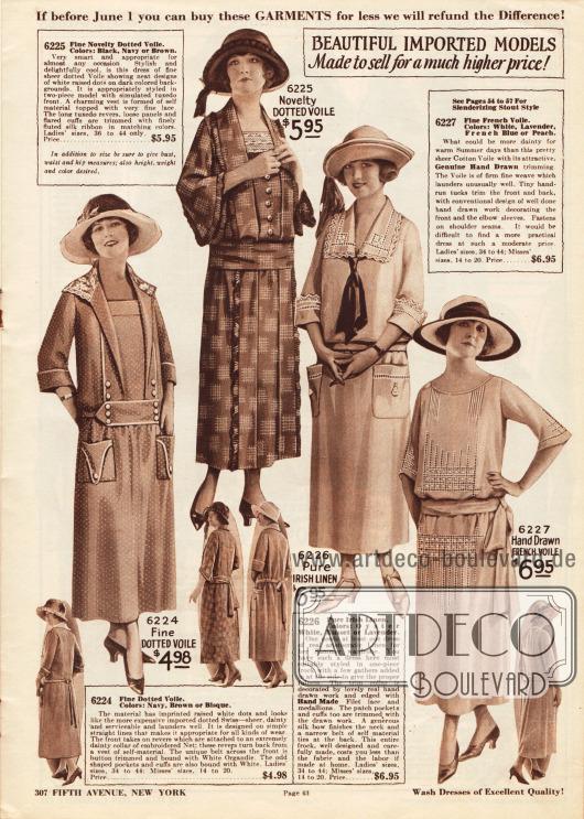 """""""Wunderschöne importierte Modelle. Hergestellt, um für einen viel höheren Preis verkauft zu werden!"""" (engl. """"BEAUTIFUL IMPORTED MODELS[.] Made to sell for a much higher price!"""").Einfache und recht günstige Tages- und Nachmittagskleider aus gepunktetem Schleierstoff, reinem irischem sowie französischem Leinengewebe. Die Kleider präsentieren aufgesetzte Taschen, kleine Zierknöpfe, feine Plisseerüschen, Hohlsäume oder Spitzengarnituren."""