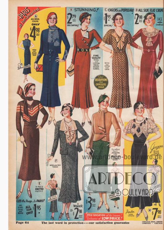 Enge Taillen und niedrige Rocksäume kennzeichnen die Mode 1932.