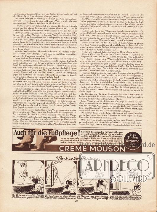 """Artikel: Leutz, Ilse, Vater. Skizze aus dem Berliner Zoo. Unten auf der Seite befindet sich eine gezeichnete Geschichte namens """"Verdienter Applaus"""", die als Werbung für nach Lyon-Schnitten gefertigten Kleidern gedacht ist; Zeichnung: Hans Kossatz (1901-1985). Werbung: Creme Mouson."""