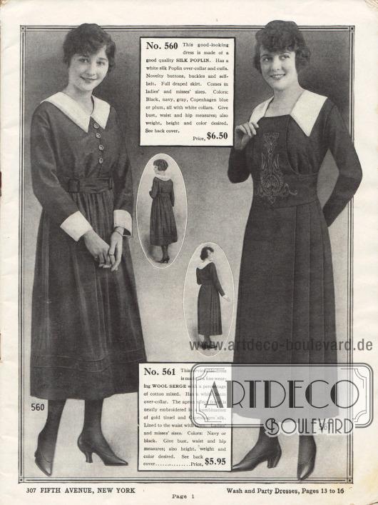Zwei Damenkleider aus Seiden-Popeline und Woll-Serge. Die weißen Garnituren sind aus Seiden-Popeline (links) und Satin (rechts). Das rechts Kleid weist zudem eine Stickerei aus goldfarbener Seide sowie tiefe Plisseefalten am Rock auf.