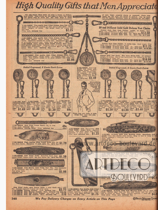 """""""Hochwertige Geschenke die Männer zu schätzen wissen"""" (engl. """"High Quality Gifts that Men Appreciate""""). Herrenschmuck. Ketten für Taschenuhren in verschiedenen Stilen aus vergoldetem Nickel oder echtem Gold. Die Bezeichnungen für die Stile sind """"Dickens Style"""", """"Curb Pattern"""" oder """"Rope Pattern"""" (dt. verdrehtes Tau). Unten befinden sich kunstvoll gravierte Nagelfeilen (eine mit Kette), Taschenmesser und ein Füllfederhalter für die Tasche. Die Objekte sind aus vergoldetem Metall, Sterling Silber oder echtem Gold."""