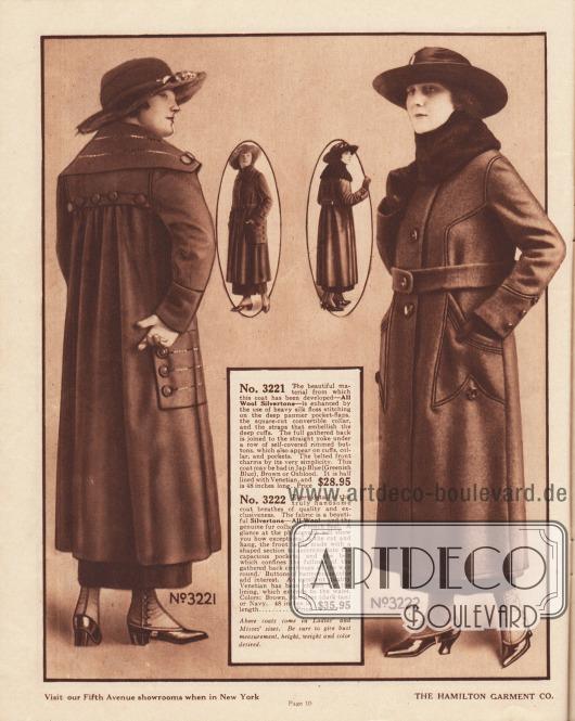 """Zwei Damenmäntel der mittleren Preiskategorie für die Herbst- und Wintersaison 1919-20 aus Woll-""""Silvertone"""" oder reinem Wollgewebe. Der linke Mantel ist in grünlichem Blau (engl. """"Jap Blue""""), Braun oder Ochsenblut (ähnlich Burgunderrot nur mit stärkerem Lila-Akzent) bestellbar. Der rechte Mantel ist in den Farben Braun, Dunkelbraun oder Marineblau erhältlich. Beim ersten Mantel ist der Stoff unterhalb der Rückenpasse dicht angesetzt. Der breite Kragen, die Rückenpasse und die Taschen sind mit glänzenden Nähten aus Rohseide und großen Knöpfen besetzt. Der breite Matrosenkragen ist konvertierbar. Der Kragen des zweiten Modells ist mit Robben- bzw. Seehundfell verbrämt. Die geräumigen Taschen sind mit Paspelierung eingefasst, die sich bis zur Schulter fortsetzt."""