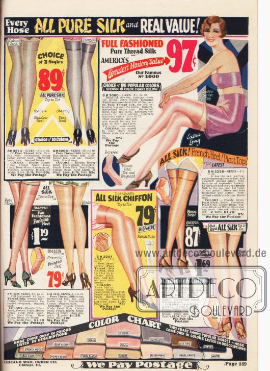 Feine Damenstrümpfe aus reiner Seide mit Fersenverstärkung und verzierten Fersennähten. Im unteren Teil des Bildes befindet sich eine Farbtafel mit allen bestellbaren Farbschattierungen. Die Preise liegen zwischen 79 Cent und 1,69 Dollar pro Paar.