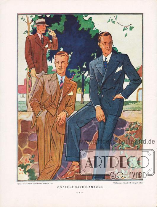 Sommerliche einreihige Sakkoanzüge (links) und ein zweireihiger dunkler Anzug für den eleganten Herrn (rechts). Zeichnung: Harald Schwerdtfeger.