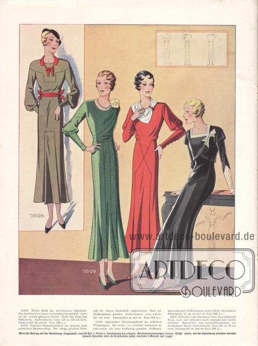 Nachmittagskleider aus Afghalaine, Hammerschlag und Wollgeorgette. Das Bolerokleid rechts aus schwarzem Samt ist mit écrufarbener Spitze an Manschetten und Ausschnitt garniert.