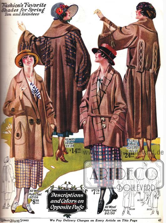 Dreiviertel lange und normal lange Mäntel mit weiten Ärmeln und großen Knöpfen.
