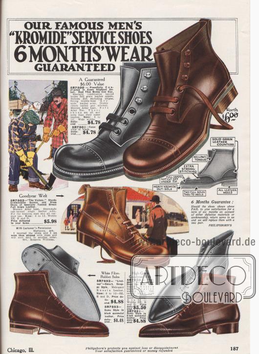 """""""Unsere berühmten 'Kromide' Dienstschuhe – mit 6 Monaten Tragegarantie"""" (engl. """"Our Famous Men's 'Kromide' Service Shoes – 6 Months' Wear Guaranteed""""). Ein Paar dienstbare Arbeitsschuhe mit Derby-Schnürung (oben) und drei elegante Paare Halbstiefeletten (unten). Die Schuhpaare sind aus Kalbsledern oder Juchtenleder (hier engl. """"Mahogany Russia leather"""", speziell gegerbtes Kalbs- oder Rindsleder). Das Oberleder und die Sohlen des armeetauglichen Arbeitsschuhs sind vernietet und qualitativ hochwertig verarbeitet. Die eleganten Straßenschuhe unten sind Goodyear welted (Rahmenvernäht) und zeigen Lochlinienverzierungen. Zwei der Paare zeigen die Oxford-Schnürung."""