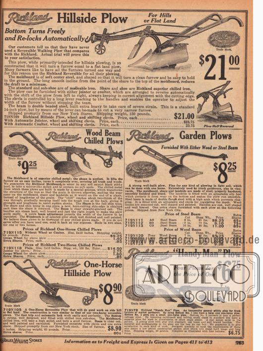 Einfache Pflüge der Marke Richland für 6,75 bis 23,75 Dollar speziell für kleinere Äcker oder große Gärten. Die Pflüge werden von einem Mann bedient und von einem Pferd gezogen. Die Modelle sind auch zur Bestellung von hügeligen Feldern und Äckern bestens geeignet.