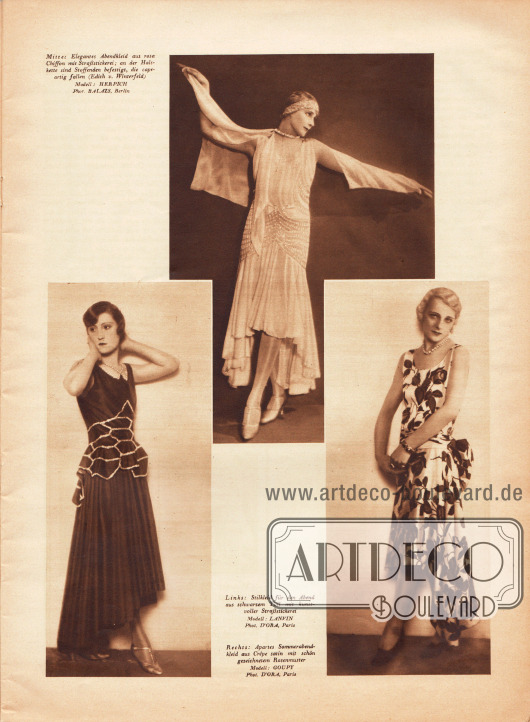 """Bilder:""""Mitte: Elegantes Abendkleid aus rosa Chiffon mit Straßstickerei&#x3B; an der Halskette sind Stoffenden befestigt, die capeartig fallen (Edith von Winterfeld)"""", """"Links: Stilkleid für den Abend aus schwarzem Tüll mit kunstvoller Straßstickerei"""" und """"Rechts: Apartes Sommerabendkleid aus Crêpe-Satin mit schön gezeichnetem Rosenmuster"""".Modelle: Herpich&#x3B; Lanvin&#x3B; Goupy.Fotos: Balazs, Berlin&#x3B; d'Ora, Paris (1881-1963)."""