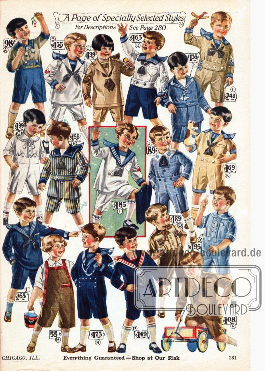 Spielanzüge für kleine Jungen im Alter von zwei bis acht Jahren. Vor allem Spielanzüge die wie Matrosenanzüge aufgemacht sind, sind besonders stark vertreten. Andere Modelle tragen Namen wie Oliver Twist. Die verwendeten Stoffe sind Chambray (leichtes Baumwollgewebe), Jeansstoff, merzerisierter Baumwolle, Leinen und Kord.