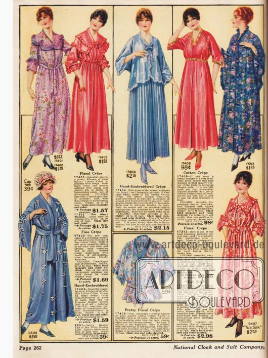 Kimonos und Morgen- und Abendroben aus bedruckten Crêpestoffen.