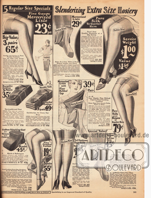 Links befinden sich dünne und dicke Strümpfe für Damen aus merzerisierter Baumwolle und gewöhnlicher Baumwolle.Rechts werden speziell für stärker gebaute Damen Strümpfe mit elastischem Topp aus merzerisierter Baumwolle, Rayon und Seide angeboten.