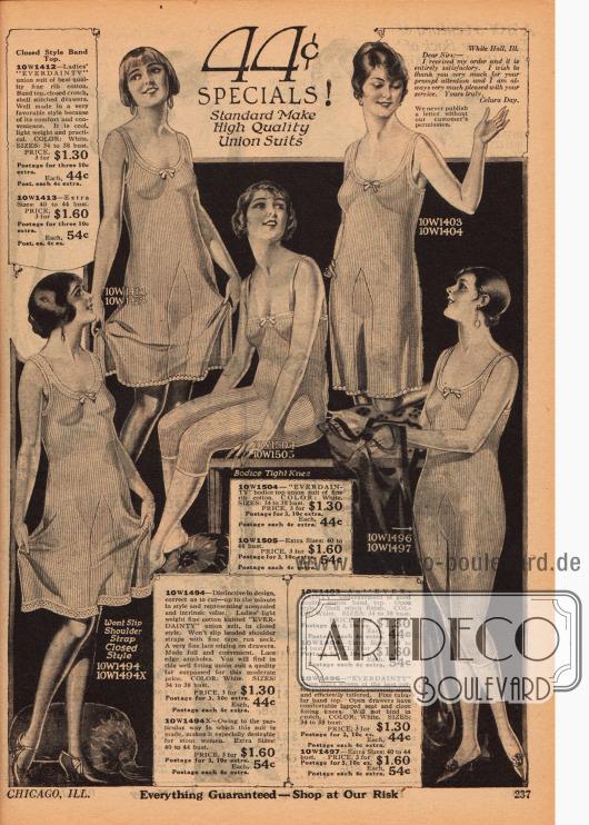 """Union Suits (dt. Hemdhose) für Frauen der Marke """"Everdainty"""" für 44 Cent aus gerippten Baumwollstoffen mit wahlweise weiten oder engen Beinen."""