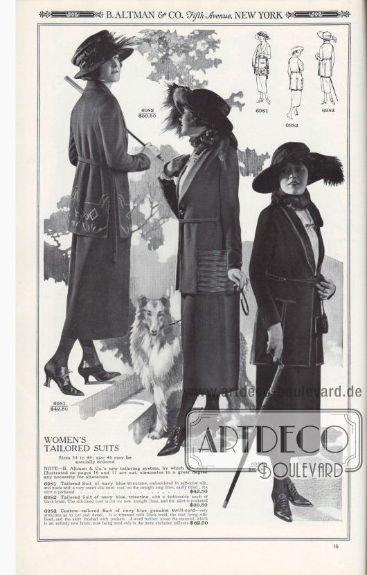 B. ALTMAN & CO., Fifth Avenue, NEW YORK.  MASSGESCHNEIDERTE DAMENKOSTÜME. Größen 34 bis 44; Größe 46 kann separat bestellt werden.  HINWEIS – Das neue Schneidersystem von B. Altman & Co., nach dem die auf den Seiten 16 und 17 abgebildeten Kostüme geschneidert sind, macht Änderungen weitgehend überflüssig.  69S1: Maßkostüm aus marineblauem Trikotine, bestickt mit Seide in gleicher Farbe, und mit einer sehr eleganten, seidengefütterten Kostümjacke, auf gerader langer Fasson geschnitten, leicht anliegend; der Rock ist mit Taschen versehen… 42,50 $. 69S2: Maßgeschneidertes Kostüm aus marineblauem Trikotine, mit einem modischen Hauch von schwarzer Tresse. Die mit Seide gefütterte Jacke ist in der neuen geraden Linie geschnitten, und der Rock ist mit Taschen versehen… 39,50 $. 69S3: Maßgeschneidertes Kostüm für Frauen aus marineblauem, echtem Twill-Kord – sehr attraktiv in Schnitt und Detail. Es ist mit schwarzer Paspel besetzt, die Jacke ist mit Seide gefüttert und der Rock ist mit Taschen versehen. Ein Wort noch zu dem Material, das ein völlig neuer Stoff ist und zurzeit nur in den exklusiveren Schneidereien verwendet wird… 62,00 $.  [Seite] 16