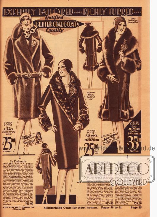 Warme Wintermäntel für Damen der oberen Preisklasse aus Alpakawolle und Woll-Chiffon-Breitgewebe. Der mittlere Mantel ist mit Karakulpelz besetzt während der rechte Mantel großzügig mit Kaninchenpelz verbrämt ist.