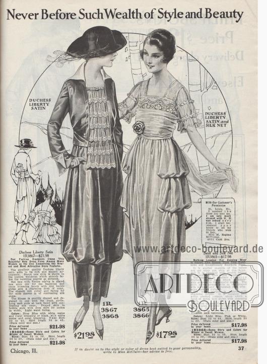 """""""Niemals zuvor solch ein Reichtum an Stil und Schönheit"""" (engl. """"Never Before Such Wealth of Style and Beauty""""). Links ein mondänes Nachmittagskleid oder Besuchskleid aus marineblauem """"Duchess Liberty""""-Satin und rechts ein äußerst schönes Abendkleid aus wahlweise hellblauem, rosa oder weißem """"Duchess Liberty""""-Satin kombiniert mit Seidenspitze für Damen. Das linke Modell zeigt eine lange, jabotartige Schoßweste, die mit mehreren Lagen aus Netzspitze und Venezianischer Spitze ausgestattet ist. Kragen und Innenseiten der Ärmel sind aus hell kontrastierendem Seiden Krepp hergestellt. Der Rock ist knapp unterhalb der Knie drapiert und zusammengefasst. Das Modell lehnt sich an den Humpelrock der frühen 1910er Jahre an. Im Rücken zwei lange Schleppenenden. Das Abendkleid zeigt die modernen, drapierten Seitenteile. Die drapierte Korsage wickelt sich Fältchen werfend um Taille und Brust. Darüber kommt Metallspitze zum Vorschein. Die Schulterpartie und die kurzen Ärmelchen sind aus Seiden-Netzstoff und mit schmalen Rüschen garniert. Zwei Schleppen im Rücken sowie eine künstliche Ansteckblüte in der Taille komplettieren das Modell. Das Kleid wäre auch als Hochzeitskleid geeignet."""