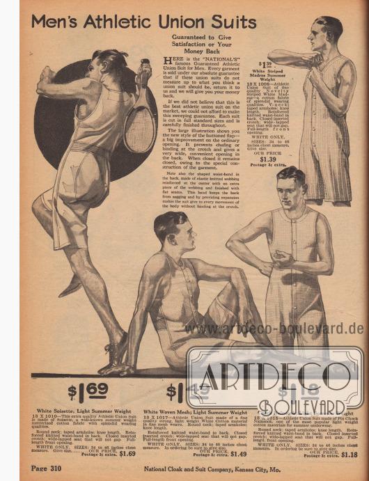"""""""Sportliche Hemdhosen für Männer"""" (engl. """"Men's Athletic Union Suits""""). Sommerliche Sportunterwäsche für Herren. Einteilige Hemdhosen für Männer mit Knopfleisten vorne, nicht ganz knielangen Hosenbeinen und großen Armlöchern. Die Hemdhosen sind aus gestreiftem Madras (Baumwollstoff), Soisette (leichter, merzerisierter Baumwollstoff), hochwertigem Baumwollgewebe mit Gitterwebung oder kleinkariertem Nainsook (leichtes Musselin, Baumwollstoff)."""