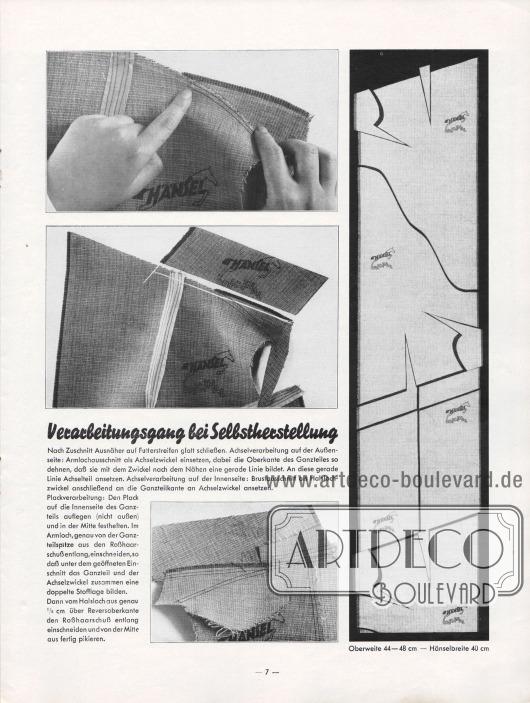 Artikel: Henschke, Bruno, Verarbeitungsgang bei Selbstherstellung.  Drei Fotografien zeigen die korrekte Herstellung der Achsel eines Sakkos. Rechts wird der zurechtgeschnittene Hänsel-Fertigstoff ohne Verschnitt präsentiert. Fotos: Hänsel & Co. A.-G.