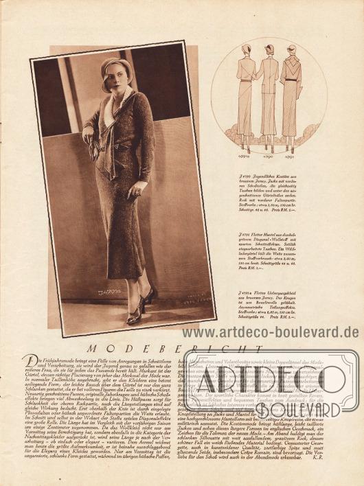 Artikel: R., K., Modebericht.  4791a: Uebergangskleid (siehe Foto) aus braunem Jersey, dessen Kragen aus Boucléwolle gehäkelt ist. Das Kleid zeigt asymmetrische Teilungseffekte. Foto: Joel Feder.