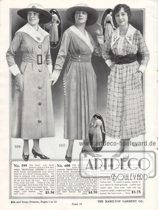 """Schlichte Kleider für den Haushalt oder den Einkauf aus """"Trouville"""" Leinen (Baumwollstoff) und kariertem Schleierstoff. Das erste Modell ist ein Mantelkleid mit großen Knöpfen und einer Gürtelschnalle aus Celluloid. Ärmelaufschläge und Kragen sind aus Pikee. Das zweite Kleid zeigt vorne sowie hinten großzügige Plisseefalten. Die eingearbeiteten Taschen erweitern optisch die Hüftpartie, was der gängigen Mode entgegen kommt. Der Pikee Kragen des dritten Modells ist bestickt. Der farblich abstechende Gürtel ist aus Taft."""