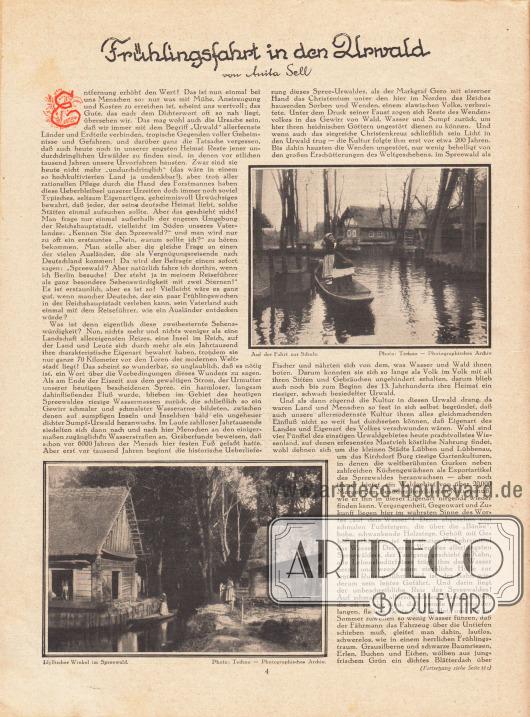 Artikel:Sell, Anita, Frühlingsfahrt in den Urwald.Mit zwei Fotografien aus dem Spreewald.Fotos: Techno - Photographisches Archiv.
