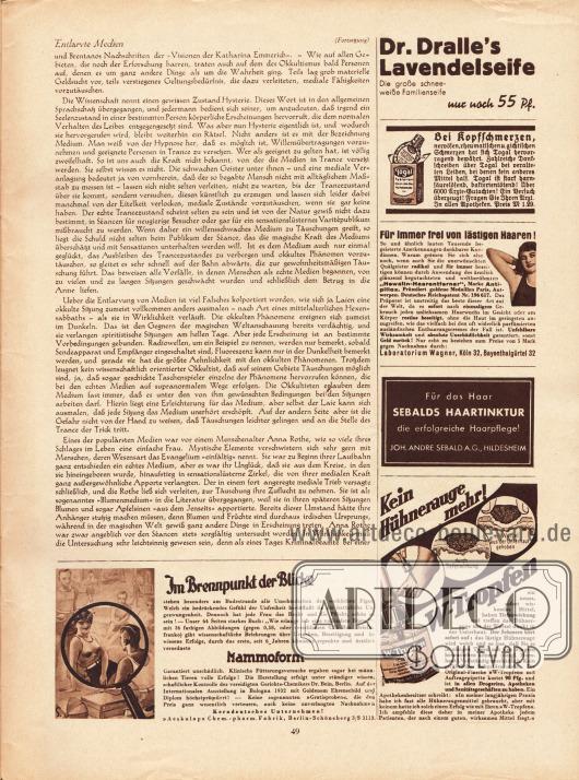 Artikel:Runge, Dr. Otto, Entlarvte Medien.Werbung:Dr. Dralle's Lavendelseife&#x3B;Togal Schmerzmittel&#x3B;Antipillox, Hewalin-Haarentferner, Laboratorium Wagner&#x3B;Sebalds Haartinktur&#x3B;W-Tropfen gegen Hühneraugen&#x3B;Mammoform, Aeskulap Chemische Fabrik, Berlin-Schöneberg.