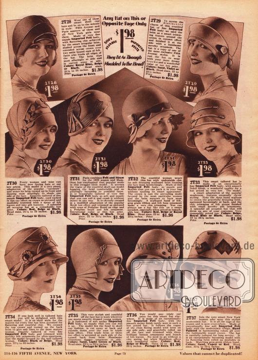 Damenhüte aus Filz zum Einzelpreis von 1,98 Dollar. Ornamente aus Stoff, Hutnadeln, Borten, Ziernähte und Ripsbänder verschönern diese günstigen, aber sehr eleganten Hutkreationen. Unten rechts befindet sich ein Modell, das durch sein modernistisches Design auffällt. Die hier abgebildeten Hüte wurden als Halbfertigprodukte aus Frankreich importiert und erst in den USA zum Fertigprodukt weiterverarbeitet, so dass durch einen niedrigeren Zolltarif Kosten eingespart werden konnten.