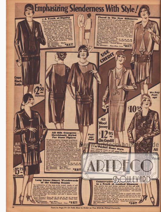 """Doppelseite mit 12 """"modischen Kleidern für stämmigere Figuren"""" aus Satin Krepp, Seiden Krepp, Seiden-Georgette, Woll-Jersey, bedruckter Seide, Seiden-Satin Krepp, Woll-Kaschmir und Rayon-Brokat."""