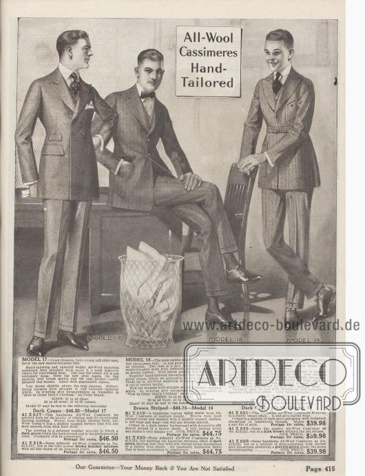 Von Schneiderhand gefertigte Herrenanzüge aus Woll-Kaschmire für junge Männer. Die Anzüge sind sehr hoch und sehr eng tailliert, die Schultern sind schmal und fallen stark ab. Die Revers sind hoch angesetzt aber relativ breit. Der Schoß der Sakkos ist glockig und setzt sich von der Hüfte deutlich ab. Ein zweireihiges und zwei einreihige Modelle. Die Hosen sind eng und kurz, die Hosenaufschläge schmal.
