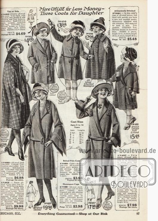 Zwei Mäntel und ein Umhang für Mädchen von acht bis 14 Jahren sowie drei Mäntel und ein Umhang für kleine Mädchen von zwei bis sechs Jahren. Sämtliche Mäntelchen und Umhänge sind aus Woll-Velours und Woll-Polostoff.
