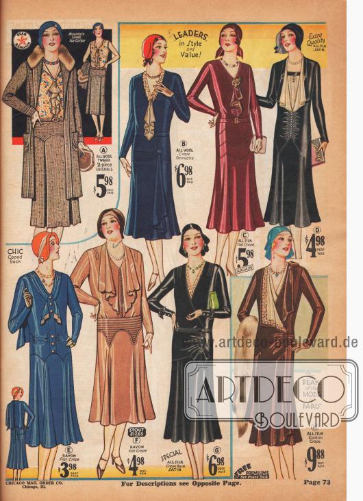 Die neue Silhouette hat sich Ende 1930 vollständig durchgesetzt. Besonders beliebt sind bei diesen Modellen Jabots, die der Linie eine leichte Beschwingtheit geben.