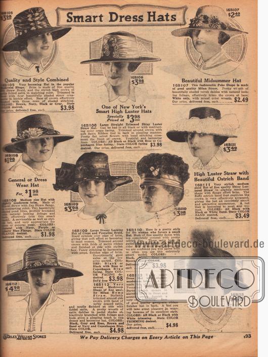 """Neun Damenhüte mit sommerlich breiten Krempen sowie ein kleiner Hut. Die Hüte sind aus Seiden-Strohgewebe und Satin, Glanzstroh, Milan Stroh, Hinoki Stroh und japanischem Stroh, Krepp und Proxaline-Gewebe (wahrscheinlich """"Pyroxylin"""" – Nitrocellulose), Satin oder Milan Hanf Stroh. Aufgeputzt sind die Damenhüte mit Stroh-Ornamenten und Stickerei, breitem Satinband mit Schleifenabschluss, flachen Samtblüten, Margeriten aus Samt mit künstlichem Blattwerk, Knospen, Moiréband mit opulenter, seitlicher Schleifengarnitur, Straußenfederspitzen die den Kopf des kleinen Huts komplett bedecken, ein Band aus hellen Straußenfedern, breites in Falten gelegtes Satinband und große Dahlien sowie Ripsband mit einem Gesteck aus angesengten Straußenfedern (Aigrette)."""