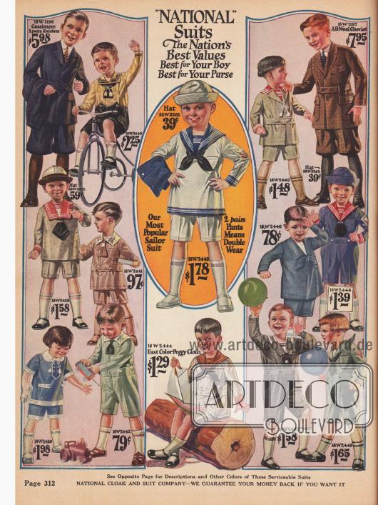 Waschbare Spielanzüge mit kurzen Hosen für Jungen von 2 ½ bis 8 Jahre. Für etwas größere Jungs von 8 bis 18 Jahren gibt es Anzüge auch mit kurzen Hosen aus Woll- und Baumwoll-Kaschmire sowie Woll-Cheviot (Anzüge ganz oben links und rechts).