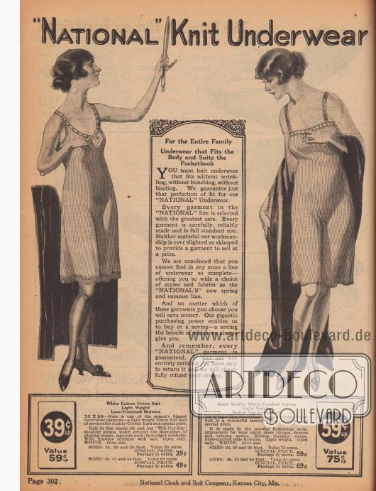 """""""'National' Strickunterwäsche"""" (engl. """"'National' Knit Unterwear""""). Unterwäsche für Frauen. Günstige, sommerlich leichte Strickunterwäsche aus weißer, gerippter Kammbaumwolle für Damen. Die beiden hier gezeigten Modelle sind zwei einteilige Hemdhöschen-Kombinationen ohne Ärmel und mit kniekurzen Beinen. Die Armlöcher, Ausschnitte und Säume sind mit Spitze berandet."""