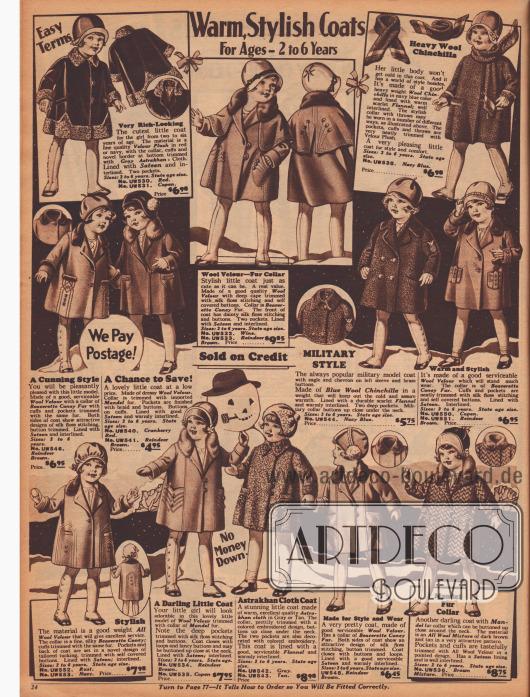 """""""Warme, schicke Mäntelchen – Für 2 bis 6-jährige Mädchen"""" (engl. """"Warm, Stylish Coats – For Ages 2 to 6 Years""""). Weite, fast knielange Mäntelchen aus Velours-Plüsch, Woll-Velours, Woll-Chinchilla, Astrachan und Woll-Mischgewebe für kleine Mädchen. Die Mäntel sind mit grauem Astrachan-, Biber-, Chinchilla- oder Kaninchenpelz sowie """"Mandel fur"""" (chinesisches Schaf) verbrämt. Stickereien und kleine Knöpfchen hübschen die Modelle auf."""