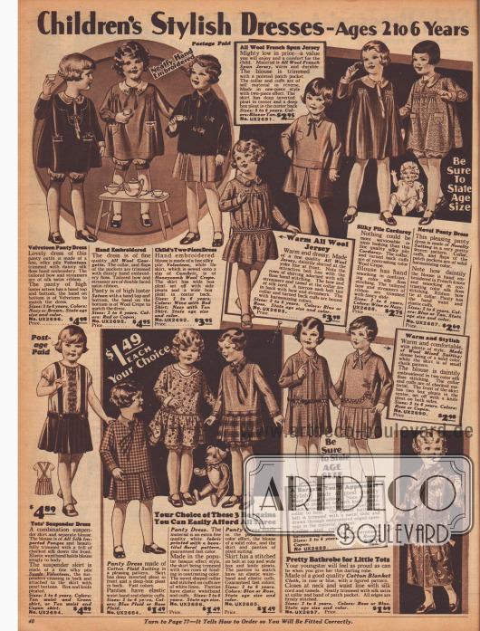 """""""Schicke Kleidchen für Kinder – 2 bis 6 Jahre"""" (engl. """"Children's Stylish Dresses – Ages 2 to 6 Years""""). Zwölf weite Kleider mit Pumphöschen (engl. """"bloomer dress"""") für kleine Mädchen sowie ein Trägerrock mit Bluse aus importierter Seide und ein Bademäntelchen aus buntgemustertem, dickem Baumwollgewebe. Die Kleidchen sind aus Samt, Woll-Georgette, Woll-Krepp, französischem Woll-Jersey, Kord, karierter Baumwolle oder auch Woll-Mischgewebe. Smokarbeit, Stickereien und feine Schleifen verschönern die Modelle."""