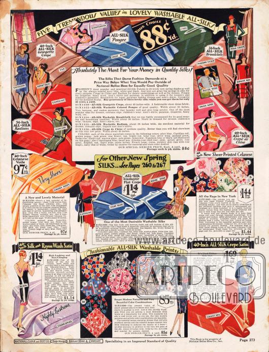 """Kleiderstoffe zum Nähen und Schneidern eigener Kleidung, Unterwäsche oder Anzughemden für Männer, wie Seiden-Georgette Krepp, Seiden-Pongee, Seiden-Breitgewebe, """"Seiden-Radium"""", Seiden Crêpe de Chine, Celanese (synthetische Faser auf Cellulosebasis), Seiden Krepp, bedrucktem Celanese, Seiden-Rayon-Waschsatin, bedruckte Waschseiden sowie Seiden-Satin Krepp. Die Preise pro Yard (91,44 cm) rangieren zwischen 88 Cent und 1,69 Dollar."""