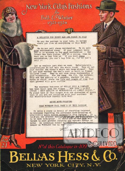 Cover des Herbst/Winter Versandhauskatalogs der Firma Bellas Hess & Co. von 1923.